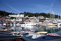 View of the harbour at St. Aubins with boats, Jersey, Channel Islands, Great Britain