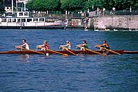 People in a rowing boat on Lake Zurich, Sport, Zurich, Switzerland