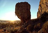 Man freeclimbing, climbing up a rock face at Mount Arapiles, Sport, Australia