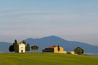 A farm and countryside near San Quirico d´Orcia, Siena, Tuscany, Italy