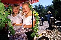 Two children, girls, sitting in a carriage decorated with grape leaf, Festival, Glen Ellen, Sonoma Valley, California, USA