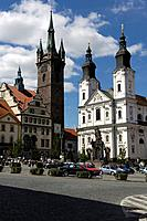 Marketplace with jesuit_church and black tower, Klatovy, Czech Republic