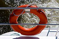 Houseboat Lifesaving Ring, Crown Blue Line Calypso Houseboat, Canal de la Marne au Rhin, near Heming, Alsace, France