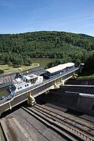 Houseboat and Tourist Boat on Arzviller Boat Lift, Saint_Louis_Arzviller Inclined Plane, Canal de la Marne au Rhin, near Arzviller, Alsace, France