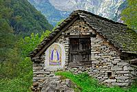 Barn with picture of the Virgin Mary, Frasco, Valle Verzasca, Canton of Ticino, Switzerland
