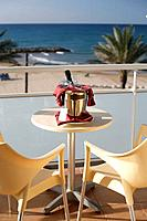 Romantic view rom balcony to Mediterranean, Hotel Maritim, Sitges, Catalonia, Spain