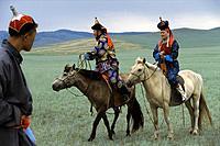 Mongolian couple, Gobi Steppe, Mongolia, Asia