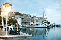 Restaurant with harbour and boats, Valun, Cres Island, Croatia