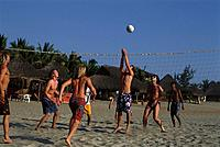 Men playing volleyball, beach volleyball, Playa Zicatela, Puerto Escondido, Oaxaca, Mexico, America