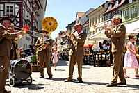 Sunshine Brass Band playing at a festival, Huetesfest in Meiningen, Thuringia, Germany