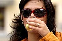 Woman with drink, Wine celebration, Znojmo, Czech Republic