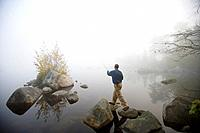 Flyfishing on Lake Millinocket, Maine, USA