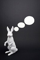 Speech bubbles coming from a rabbit