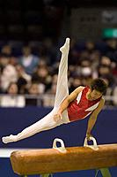 A male gymnast performing on pommel horse