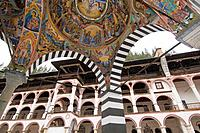 Rila monastery, ceiling frescos of Mary`s Birth Church ans residential building, Bulgaria