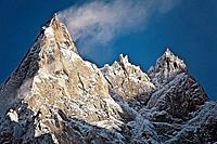 The peaks of Aiguille du Midi, Chamonix-Mont-Blanc, Rhone-Alpes, France
