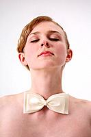 Woman with a white bowtie