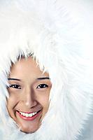 Woman in white furry jacket