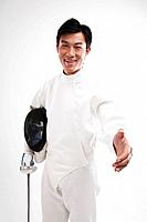 Man in fencing suit extending hand for a handshake