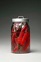 Red chillies in a jar of ice cubes