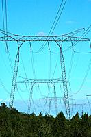 Power lines from nuclear power plant