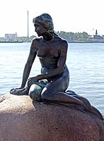 denmark bronze statue in the sea middle