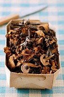 Carton of dried mushrooms