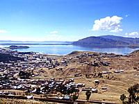 peru puno city aerial view of the city and lake titicaca