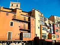 Houses by Onyar river, Girona. Catalonia, Spain