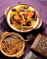 Stewed Chickpeas and Morocco_style Couscous, High Angle View