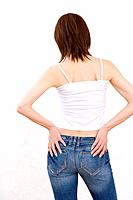 Woman wearing jeans, rear view
