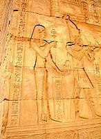 egypt handwritten draws on a temple facade