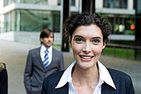 Germany, Baden_Württemberg, Stuttgart, Two business people, woman smiling