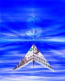 one dollar paper plane flying to money symbol