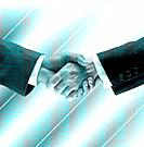two executive people shaking hands