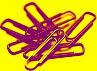 some paper clips in yellow and purple colors