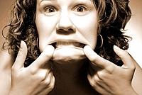a woman making scary faces