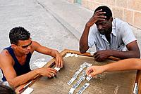 Cuba, Havana, Habana Vieja district classified as World Heritage by UNESCO, domino players