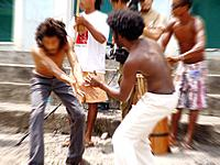 men playing capoeira at bahia street