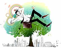 Businessman relaxing on tree