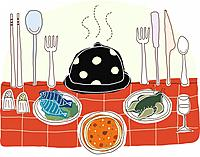 Illustration of foodstuff with crockery