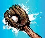 Baseball glove with base ball