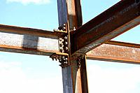 Intersection of construction steel I beams connected