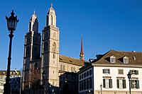 Switzerland, Europe, Zurich city, Grossmunster, minster, church, Architecture, Winter, town, Zurich, Scenic, scenery,