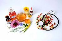 Herb Tea, nature medicin and pills, stethoscope, cut out, object
