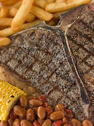 T_Bone Steak with Fries Corn and Beans
