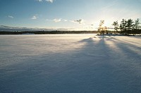 Ice and snow covers lake Musoka, ON