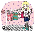 A girl shopping for clothes
