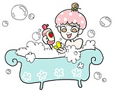 A girl having a bubble bath