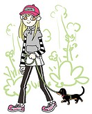A young woman walking a dog